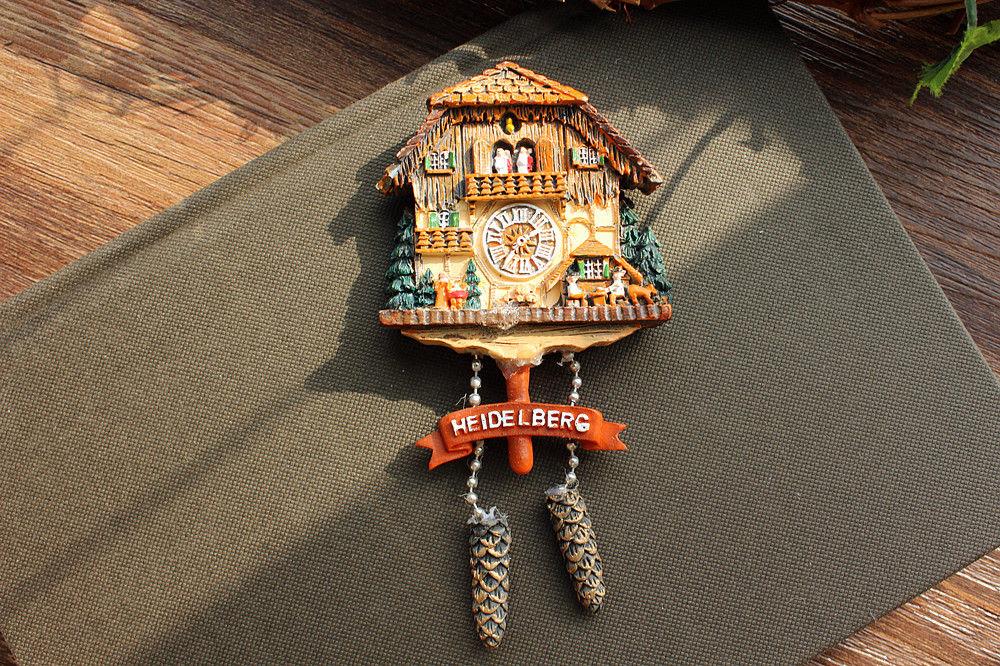 Germany Heidelberg Tourist Travel Souvenir 3D Fridge Magnet Cuckoo Clock Craft Gift Idea