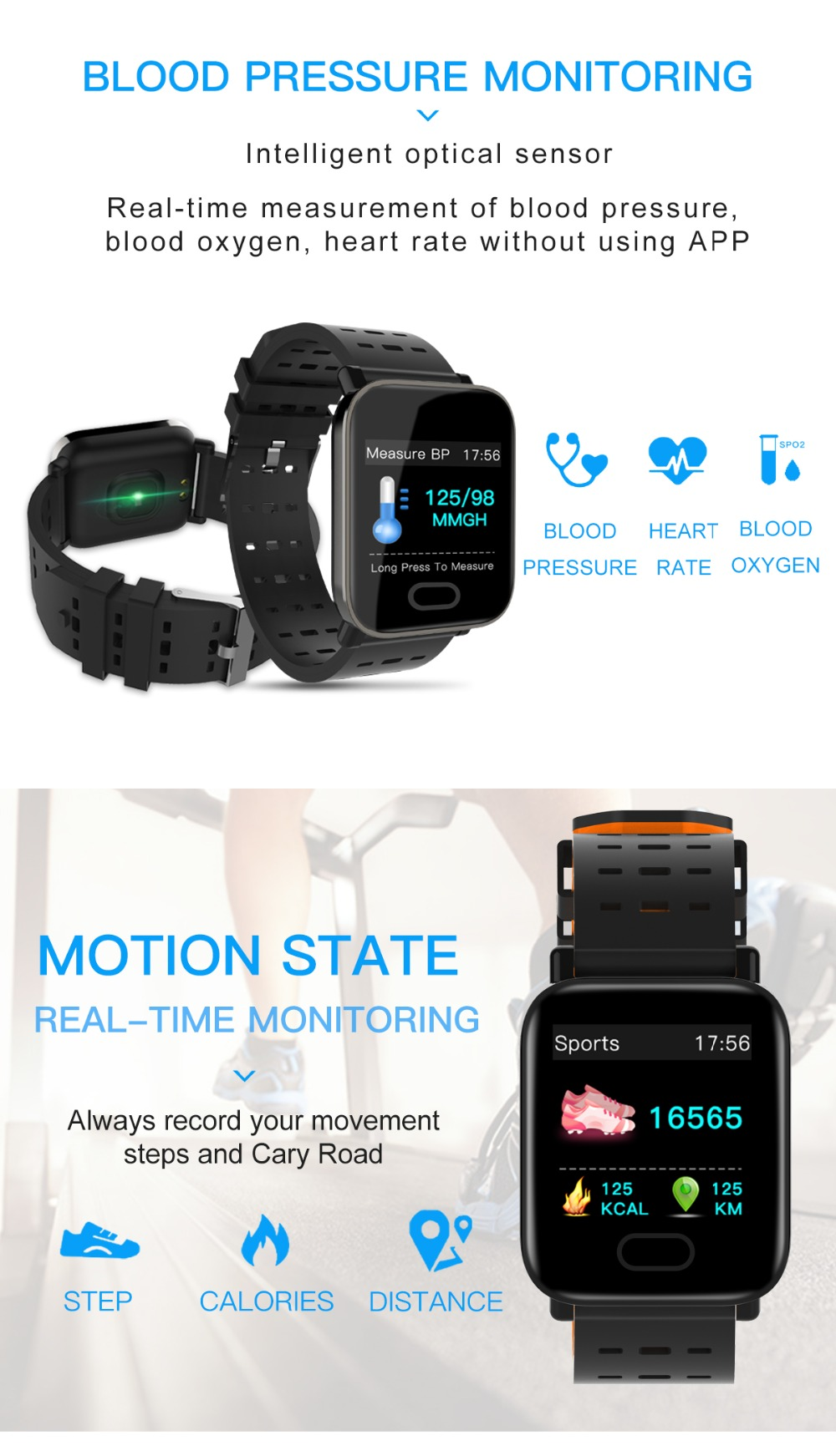 Letike A6 fitness tracker Bluetooth Smart Watch blood pressure monitor Sport Smart Wrist Watch smart bracelet for Android iOS 3