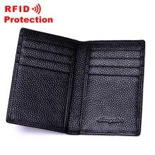 Топ из натуральной кожи держатель для Карт RFID блокирующий кошелек мужской брендовый Бизнес ID кредитный держатель для карт модный кошелек из коровьей кожи для карт R17