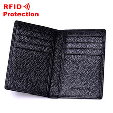 Top Genuine Leather Card Holder RFID Blocking Wallet Men Brand Business ID Credit Card Holder Fashion Cow Leather Card Purse R17(China)