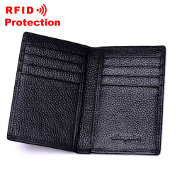 Top Genuine Leather Card Holder RFID Blocking Wallet Men Brand Business ID Credit Card Holder Fashion Cow Leather Card Purse R17