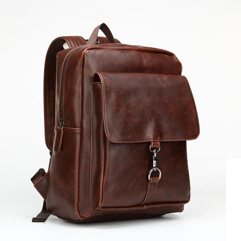 2018 Vintage Men Backpacks Crazy Horse Leather Backpack Men Solid Trunk Travel Laptop Backpack School Bags Vintage Travel Bag