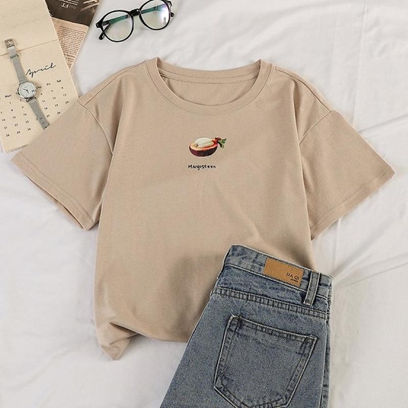 korean kawaii fruit Printed T Shirt Women Short Sleeve O Neck Loose Tshirt Summer harajuku girls Tee Shirt Tops Camisetas Mujer