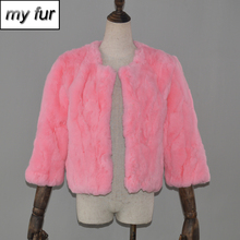 New Hot Autumn Winter Women Real Rex Rabbit Fur Coat Ladies Casual Real Rex Rabbit Fur Jacket Warm Soft Rex Rabbit Fur Overcoat cheap Real Fur Covered Button Double-faced Fur REGULAR Slim Short Nine Quarter O-Neck Thick (Winter) Solid Natural Color My fur-32352