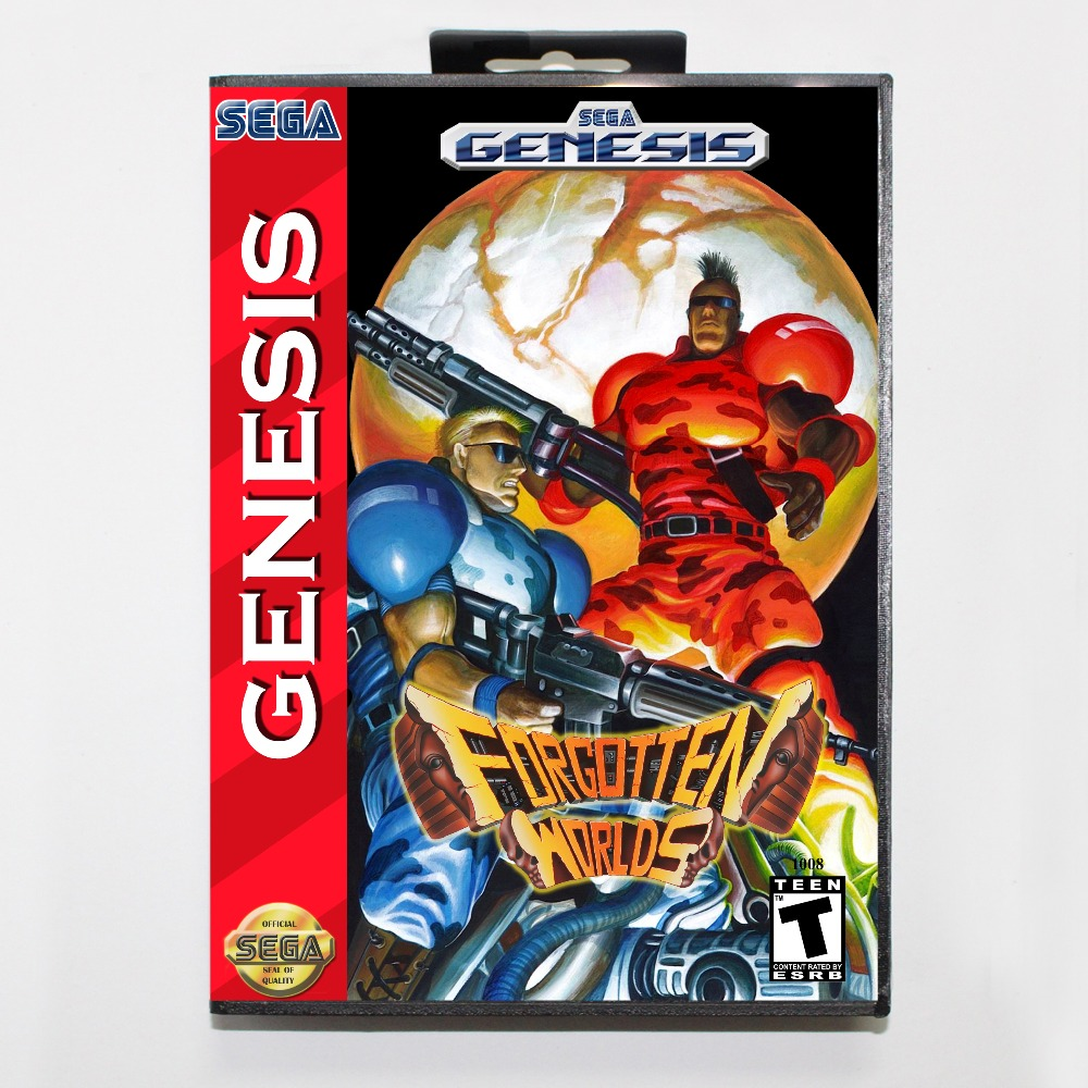 New 16 bit MD game card - forgotten worlds with Retail box For Sega genesis system