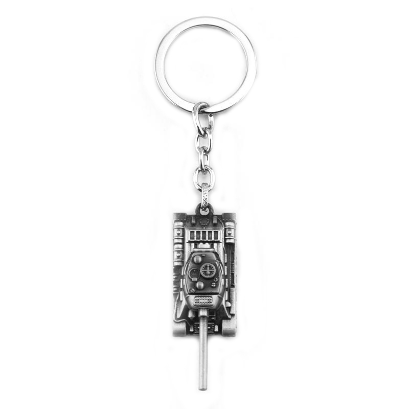 2 Colors 3D Game World of Tanks series keyring High Quality alloy Tanks Model keychain Pendant Gifts For Fans Car Key Holder image