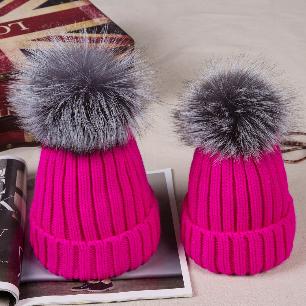b8ebf3ba1c3 2PCS LOT Winter Real Fur Ball Beanie Hat for Women Kids Baby Fluffy Silver  Fox Fur Pom Poms Skullies Beanies Fur Hat for Women-in Skullies   Beanies  from ...
