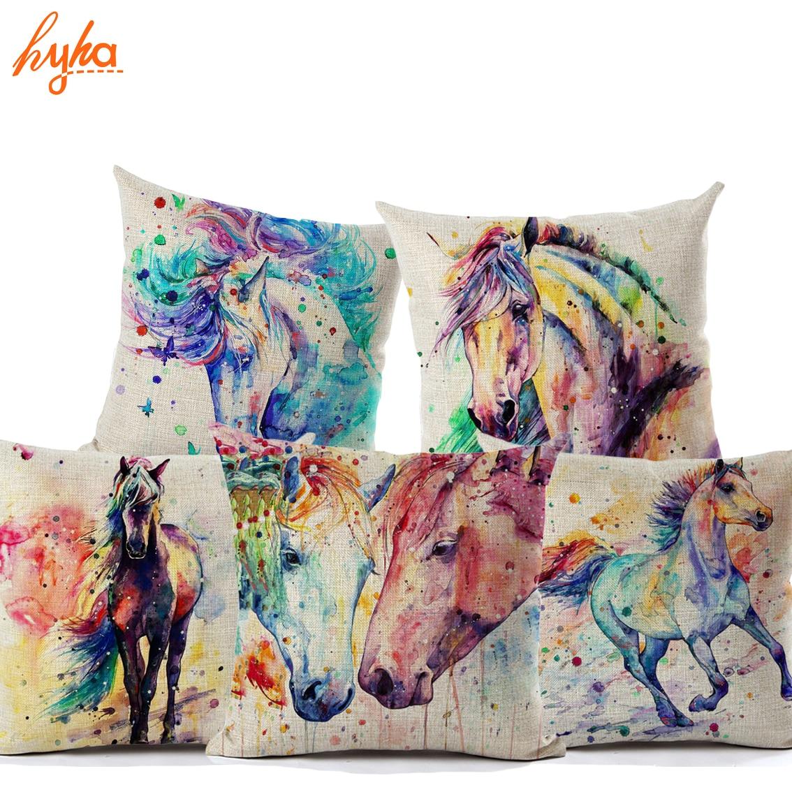 Hyha Aquarelle Peinture Cheval Housse de Coussin de Toile de Coton Coloré Au Galop Cheval Accueil Décoratif Oreillers Couverture pour Canapé Animal