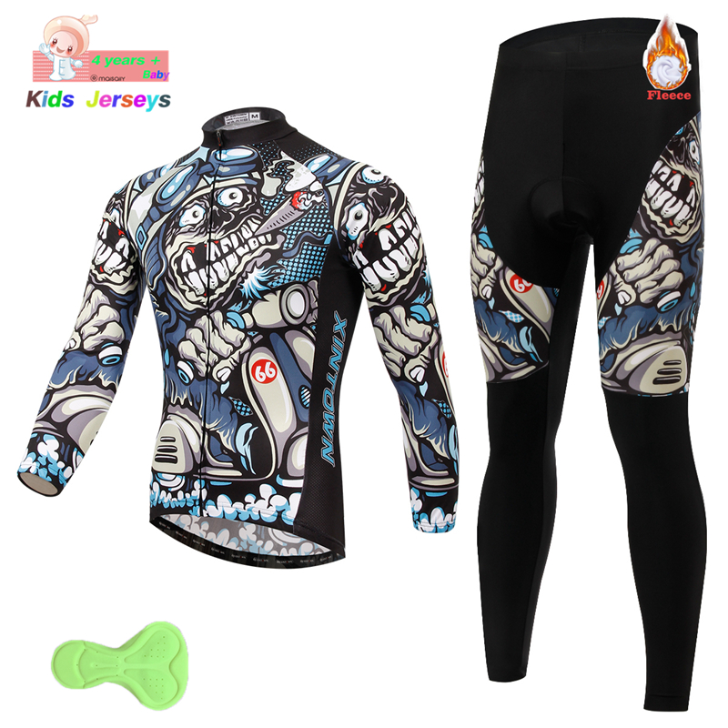 Morvelo Kids Cycling Jersey Set Long Sleeve Cycling Set Boys Winter Cycling Clothing Ropa Ciclismo Children's Triathlon Clothing