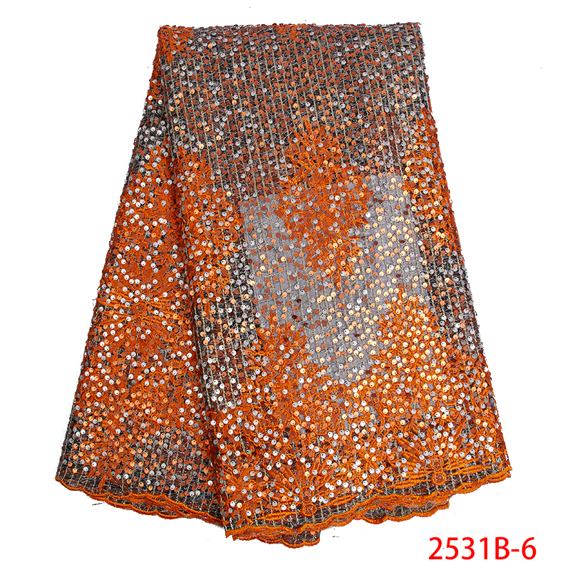 Top selling African Nigerian Lace Fabrics with Sequins 2019 High Quality Sequins Lace Fabrics for Women
