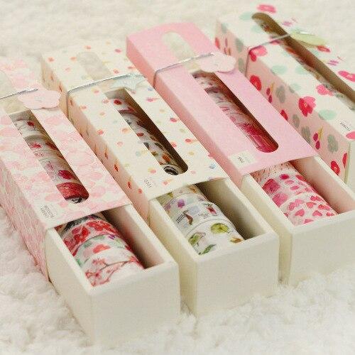 Japan Fashion Floral Washi Tape Gift Box Pack 15mm/20mm/30mm*5M DIY Journal Hobonichi Supplies 10pcs/lot Free Shipping