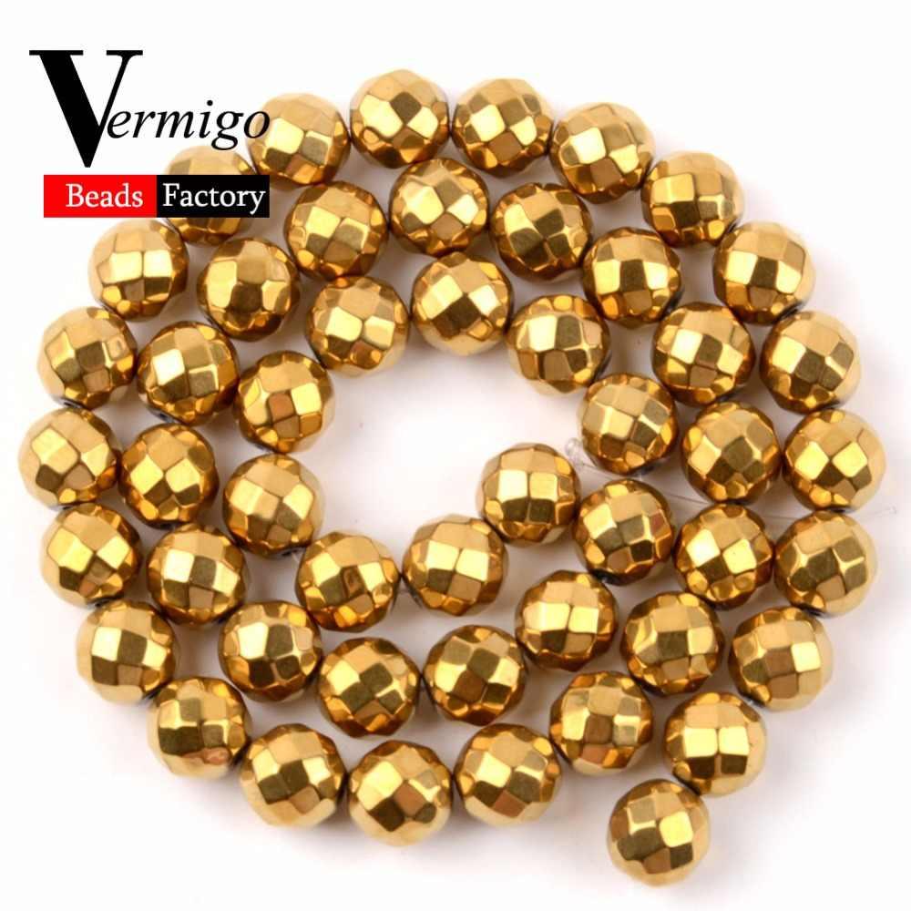 טבעי פנינה אבן חרוזים פיאות המטיט כדור חרוזים עבור תכשיטי ביצוע 4 צבעים 3 4 6 8 10mm Diy צמיד אביזרי תכשיטים