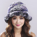 2016 New Style Genuine Knitted Rex Rabbit Fur Hat Natural Rabbit Fur Caps Fashion Women Beanies Headgear Various Colors#H9010