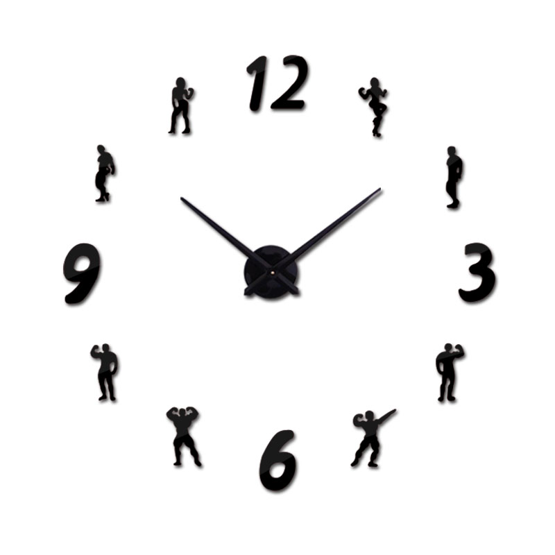 new arrival Quartz clocks fashion watches 3d real big wall clock acrylic mirror sticker diy living room modern decor character in Wall Clocks from Home Garden