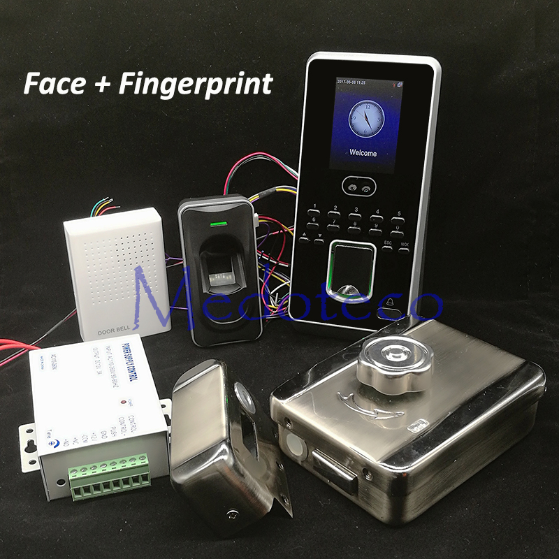 DIY Face Access Control System Kit + Fingerprint Reader Face Door Access Control Set Mute Rim Lock for In & Out Biometric Access