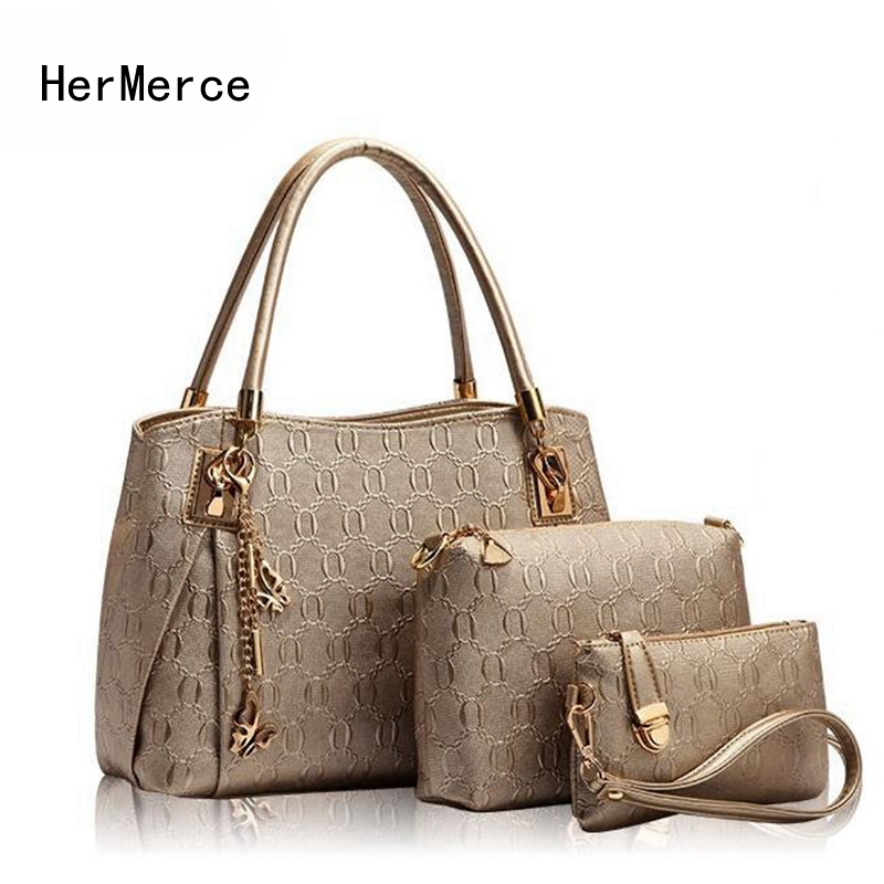 где купить HerMerce Luxury Handbags Women Bags Designer Female Hobo Tote Set Top-handle Shoulder Bag Handbag+Messenger Bag+Purse Sac A Main дешево