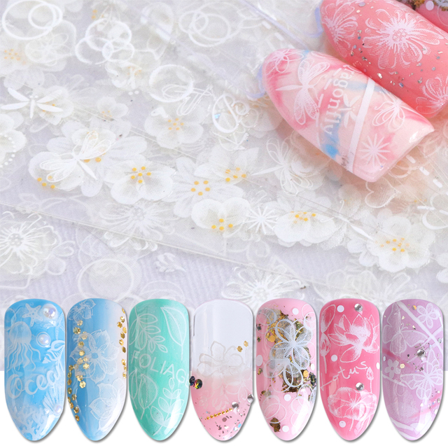27pcs White Flower Nail Sticker Decals 3d Sliders Butterfly Geometry