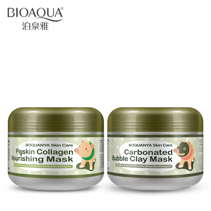 BIOAQUA 2PCS Little Pig Pigskin Collagen Nourishing Mask Carbonated Bubble Clay Face Mask Moisturizing Whitening Skin Care Set fish collagen whitening facial mask powder bulk 800 1000g rejuvenation collagen skin care beauty equipments