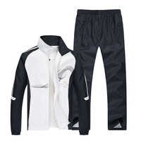 2019 Spring Running Sets Men Sport Suits Sportswear Set Polyester Fitness Training Gym Cycling Tracksuit Zip Pocket Jogging Suit