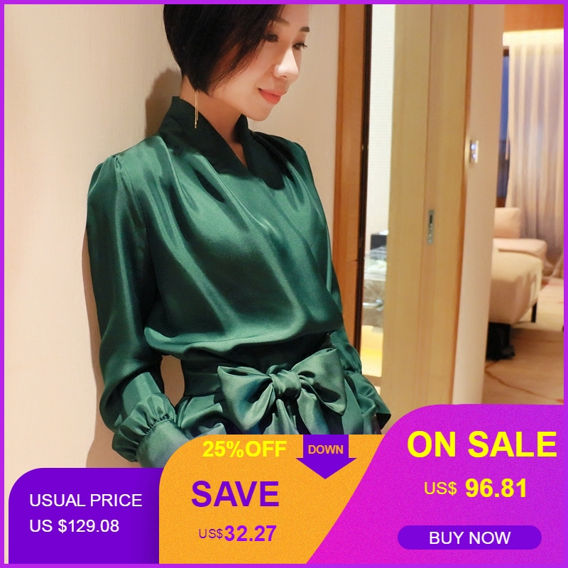 Women Lantern Sleeve V Neck Bow Belt 100 Silk Blouse Summer Casual Work Solid Color Office