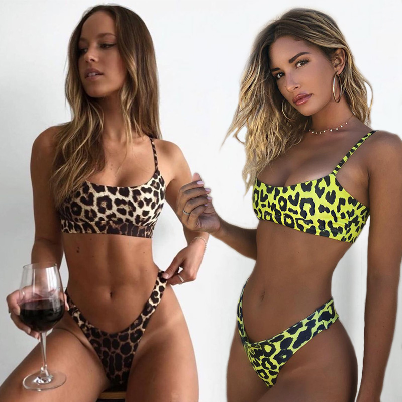 Sexy Leopard Bikinis 2019 Micro Bikini Set Push Up Thong Biquini High Cut Swimwear Women Mini Swimsuit Female Bathing Suit(China)