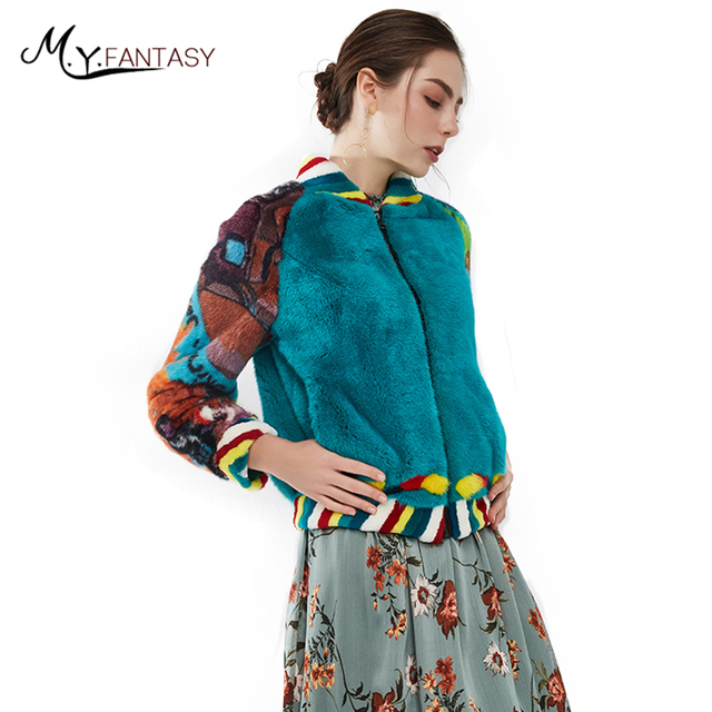 M.Y.FANSTY2017 Print Mink Fur Coat Real Natural Fur Coat Winter Crown velvet imports Women's Mandarin Collar Short Mink Coats