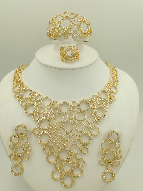 2015 New fashion African Dubai Costume 18k Gold Plated Jewelry Sets Women Nigerian Wedding Crystal Beads Necklace Set