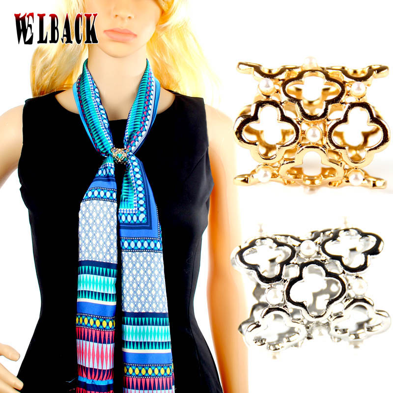 New design hollow out peal gold plated scarf buckle for High end fashion websites