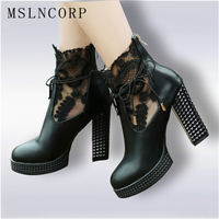 Plus Size 34 43 New Fashion Women Spring Square Heels Boots Lace Net Bowknot High Heels