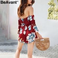 BeAvant Off shoulder print white jumpsuit women Boho beach floral chiffon rompers femme High waist summer short playsuit overall