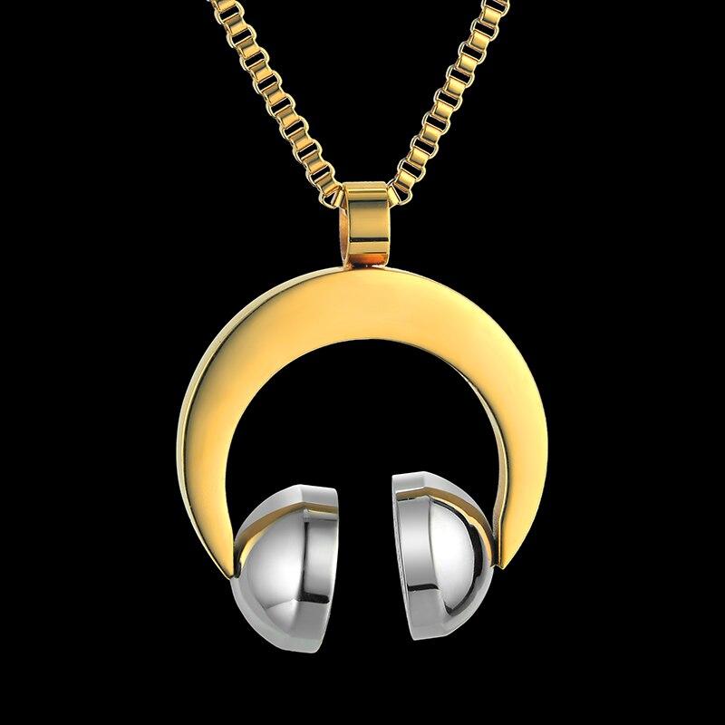 Hip Hop Jewelry Stainless Steel Music Headphone Pendant