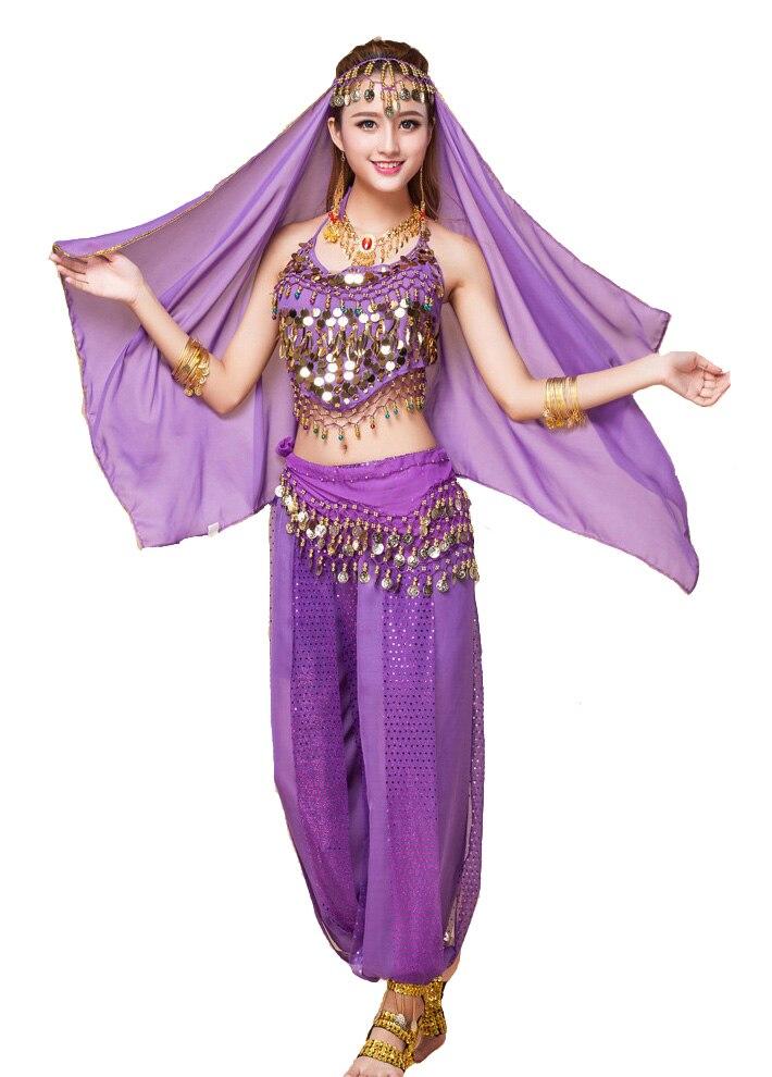 f2f2b52132ee Belly Dance Costume Performing Dancewear Indian Bollywood Bellydance Dress  Cloth (Top+ Pant+Belt+Veil ) S/M/L