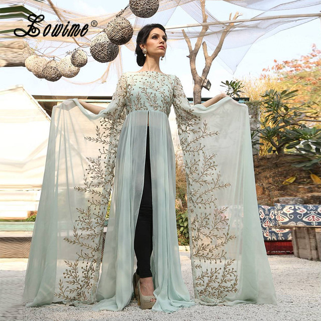 63666cb13bb02 Saudi Arabia Mint Green Caftan Dubai Long Sleeve Indian Saree Gold  Embroidery Formal Dress 2017 Sequin Middle East Evening Gowns