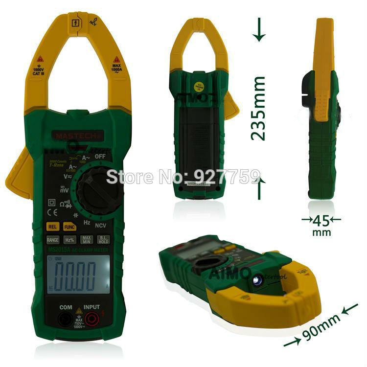 MASTECH MS2015A Professional Digital AC DC Clamp Meter True RMS Multimeters Current Frequency With Non-contact Voltage Detector digital clamp meter appa a3dr with true rms reading 1pc 100