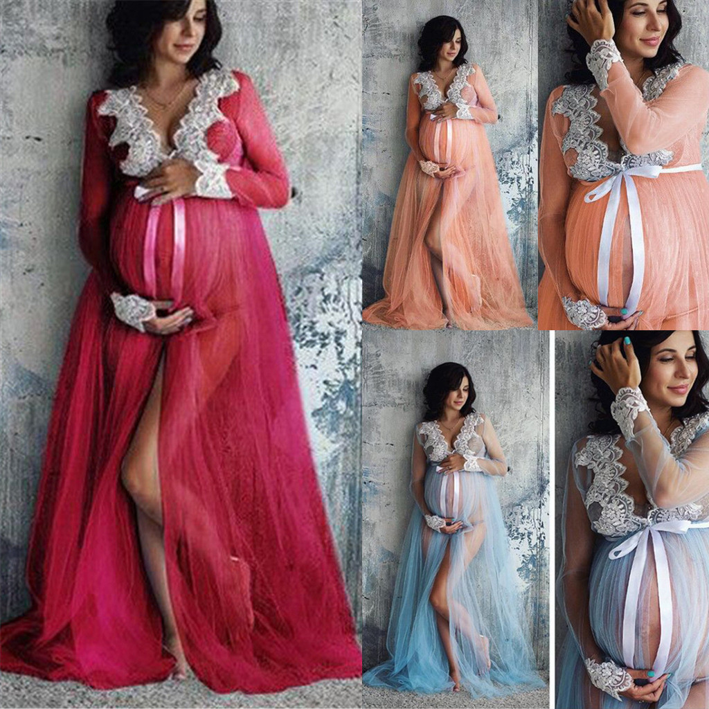 Womens Maternity Floral Lace Hollowed Out Long Sleeve Split Photography Maxi Dress