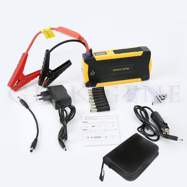 Portable Starter Battery Support 12 V Multi-function Rechargeable Power Bank For Petrol & Diesel Car 4 USB SOS Light rubber door