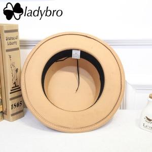 Image 4 - Мужская фетровая шляпа Ladybro, плоская шляпа с широкими полями, имитация шерсти, для женщин и мужчин