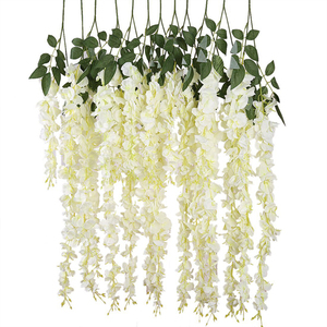 Image 4 - Luyue 12pcs Artificial Wisteria Flowers Vines 97cm Wedding Decor Flower Garland Silk Decorative Flowers Home Fake Flower Vine