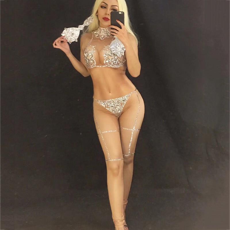 New Silver Crystals Bodysuit Jazz Dance Costumes Women Nude Jumpsuit Costume Bar Dj Sexy Nightclub DS