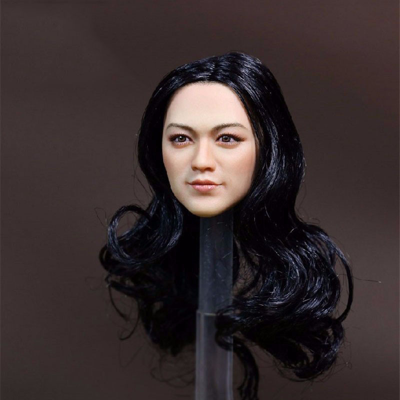 Tang Wei Female Model Toys 1/6 Scale Asian Girl Black Long Hair Model Head Carving For 12 Female   Action Figure Accessory top habbies super duck carving 1 6 sdh001 a b asian girl head sculpt black brown hair for female phichen jiaodoll body figure