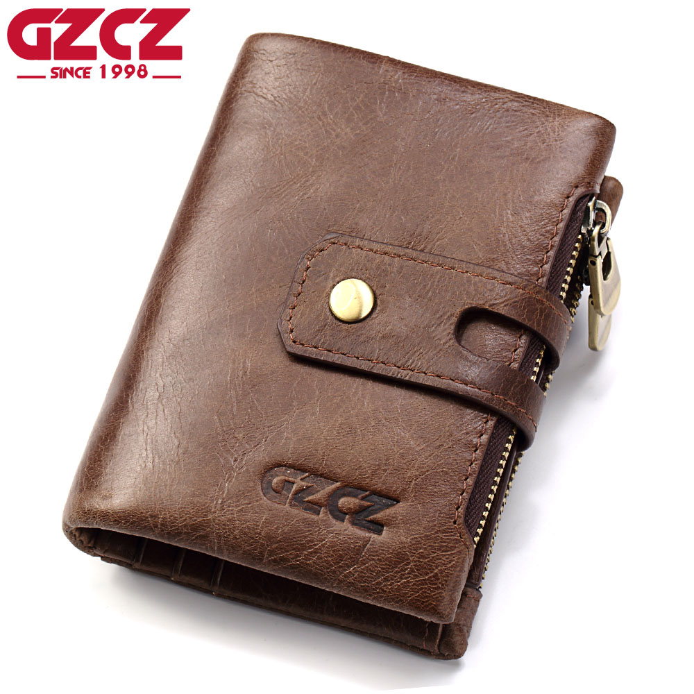 GZCZ Mens Genuine Leather Wallet Card Holder Coin Purse Small Walet Clamp For Money Bag Portomonee Male Clutch Vallet Man