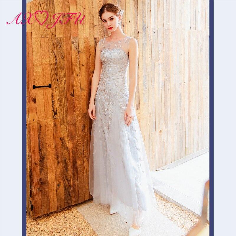 AXJFU принцесса серое кружево блестящее О-образным вырезом невесты бисером тост ужин вечерние Иллюзия без рукавов линии вечернее платье 1176