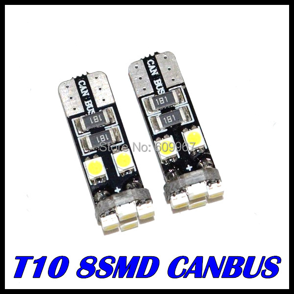 10 canbus T10 8SMD 3528 LED Canbus OBC Error 194 168 W5W led Interior Instrument Light bulb lamp White - Great Lighting Factory store