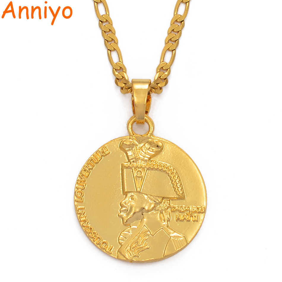 Anniyo Haiti Pendant and Chain Necklaces For Women Men,Haitian Ethnic Jewelry Gifts #090306