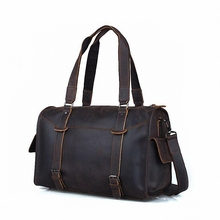 Vintage Crazy Horse Genuine Leather Travel bag men duffle bag luggage travel bag Leather Large Weekend Bag Overnight ToteLI-1253