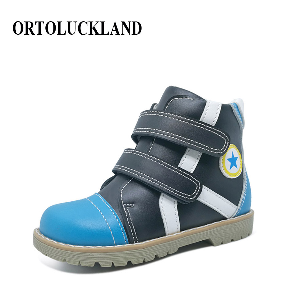 New fashion russian style genuine leather kids boots shoes with felt wool orthopedic boys black blue shoes for spring autumn цена 2017