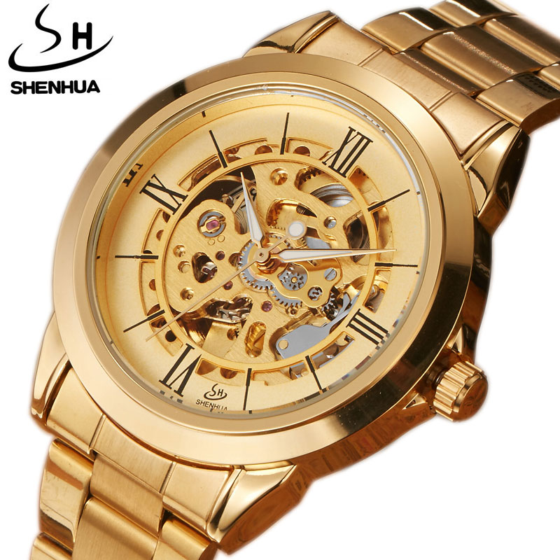 Luxury Top Brand SHENHUA Unisex Watches Golden Automatic Mechanical Hollow Skeleton Full Steel Watches Males Casual Wristwatches