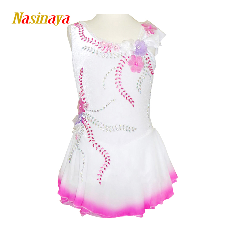 Customized Costume Ice Figure Skating Dress Gymnastics Skirt Competition Adult Child Girl Performance white Pink Rhinestone pink black ice skating jackets for kids hot sale figure skating suits competition skating suits for children