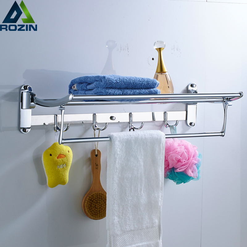 Stainless Steel Bathroom Towel Holder Wall-mounted Towel Rack Bath Towel Clothes Organizer Storage Shelf With 4 Hooks Towel Bar modern chrome fixed bath towel holder with hooks stainless steel towel rack holder for hotel or home bathroom storage rack shelf