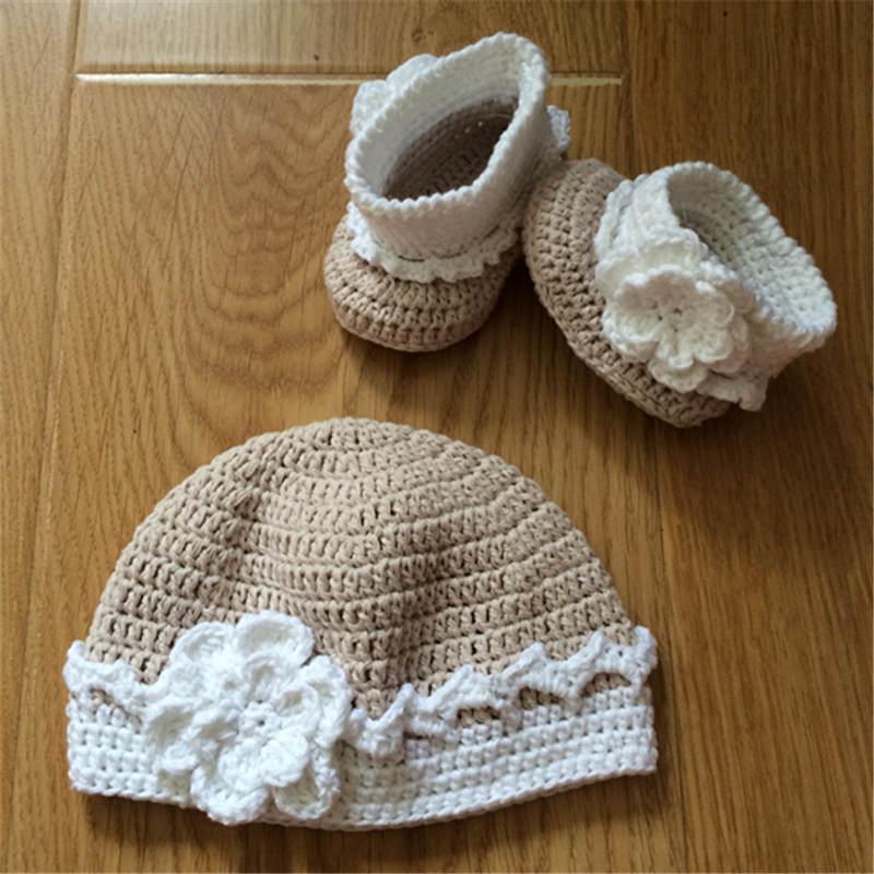 Cute Flowers Toddler Baby Kids Cappello Fotografia baby cappello neonato cappello neonato set e scarpe neonato Crochet Outfits neonato